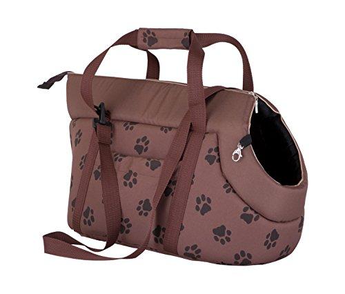 Hobbydog TORJBL5 Hundetasche Tragetasche Katzentasche, Größe 22 x 20 x 36 cm, hell braun mit Pfoten