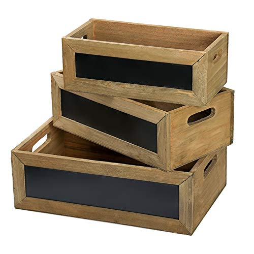 Wood Nesting Storage Crates with Chalkboard Front Panel and Cutout Handles, Decorative Nesting Wood Box for Storage, Organization and Display, Set of 3, Natural Wood Finish