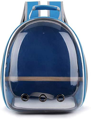 YZHM Reisetasche für Papageien, transparenter Rucksack, atmungsaktiv, 360° hellblau