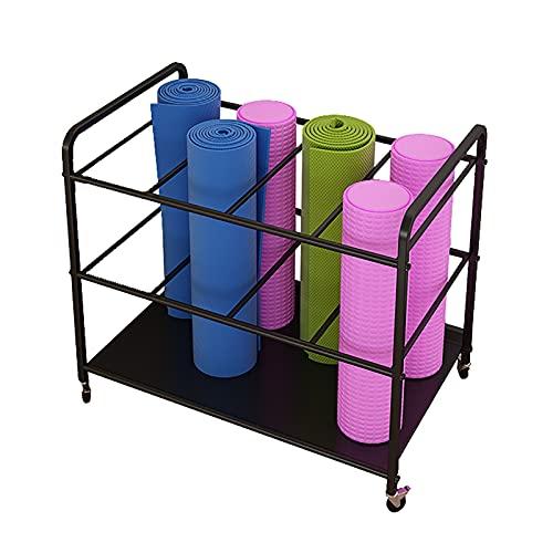 Floor Square Yoga Mat Cart Rack on Wheels, Black Large Capacity Foam Roller Organizer Stand Holder for Home/Yoga Studio/Gym