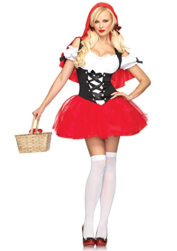 Leg Avenue Women's Racy Riding, Tutu Peasant Dress w/Attached Hooded Cape, Red/Black, X-Small