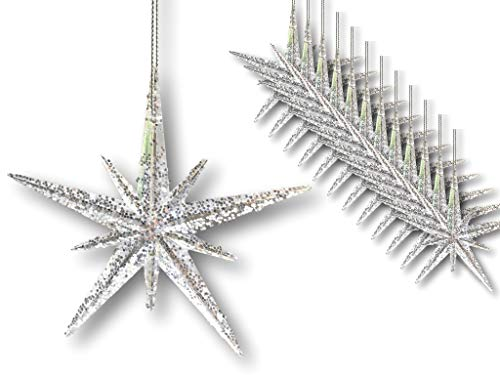 BANBERRY DESIGNS Christmas Moravian Stars - Set of 12 Acrylic Star Ornaments with Glitter - 4 ½'