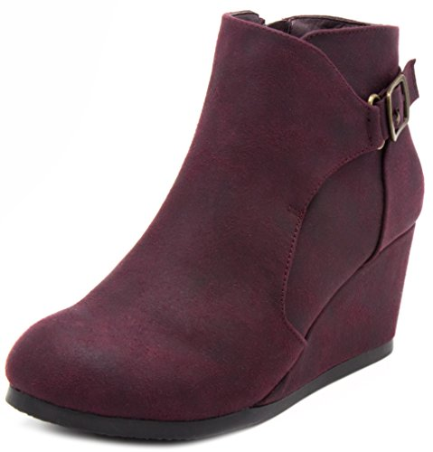 LONDON FOG Womens Martha Wedged Ankle Bootie with Buckle Burgundy 8