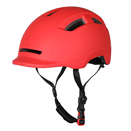 Atphfety Adult-Men-Women Bike Helmet with Rechargeable Light for Urban Commuter Cycling Scooter E-Bike Skateboard (Red)