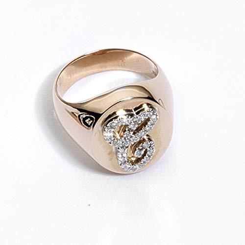 Virano Gioielli, anello chevalier con iniziale oro rosso e diamanti