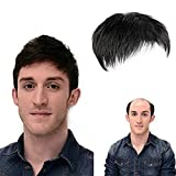 UHBGT Men Hair Tropper, Natural Black Short Men Topper Wig Real Human Hair Toupee Clip for Male Guy Daily Wear