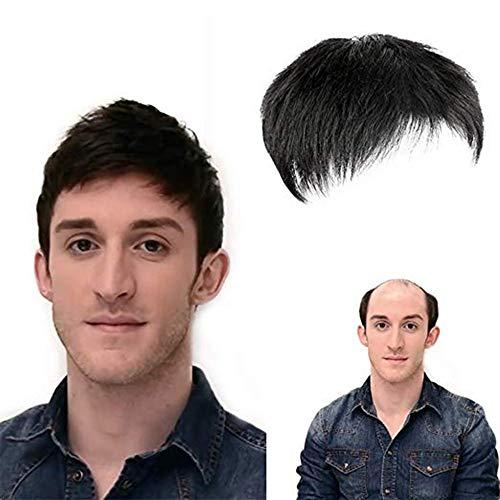 VKTY Kurze schwarze Herren-Perücke, schwarzes Toupet, Echthaar-Topper mit atmungsaktivem Hautersatz, Haarausfall, dünner werdendes Haar