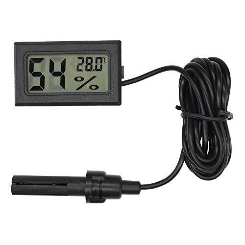Mini termómetro digital LCD integrado higrómetro medidor de temperatura humedad sonda para incubadora de reptiles acuario aves de corral (negro con cable)