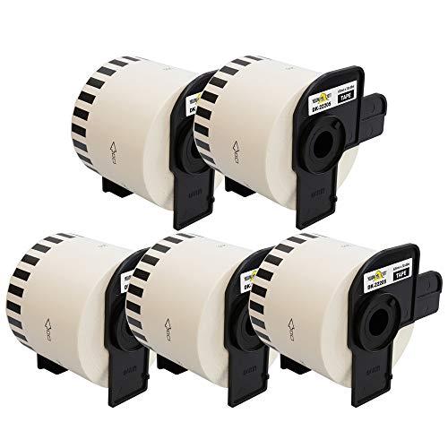 Yellow Yeti 5 Rollos DK-22205 Cintas continuas 62mm x 30,48m Etiquetas compatibles para Brother P-Touch QL-500 QL-550 QL-570 QL-700 QL-710W QL-720NW QL-800 QL-810W QL-820NWB QL-1050 QL-1100 QL-1110NWB