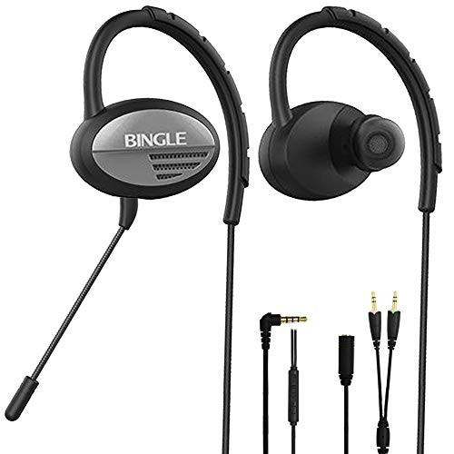 DLAND Sports Headphones Wired,Noise Cancelling Earhook Earbuds,Gaming Earphones with Detachable Microphone for PS4,Xbox,Laptop Computer, Cellphone.Inline Controls for Hands-Free Calling.