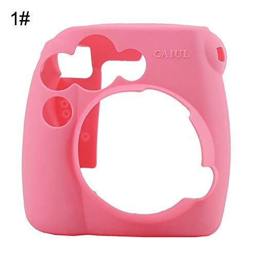 Siliconen Effen Kleur Camera Hoesje Beschermhoes voor Polaroid Instax Mini 8 9 Pink roze