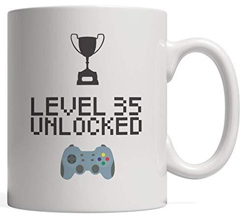 N\A Taza de 35 cumpleaños Nivel 35 Desbloqueado Novedad Taza Gamer BNovelty MugRegalo de día para un Hermano de Treinta y Cinco años Nacido en 1983 o 1984 Que ama los Videojuegos geniales