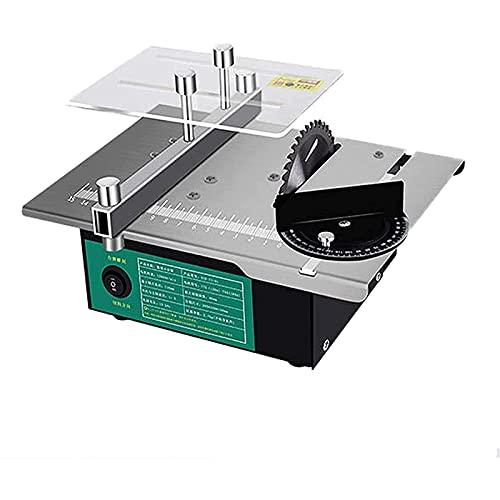 Sierra de mesa portátil de sobremesa, Mini sierras de mesa 120W, sierras circulares 12V-24V con un conjunto de cuchillas de sierra multifunción, control de velocidad variable, bajo ruido para BRICOLAJ