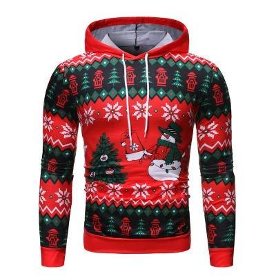 ZSPSHOP Mannen Vrije tijd Printing Sweater Hooded Coat Mannen Tide Persoonlijkheid Mannelijke Jas Kerst Stempel