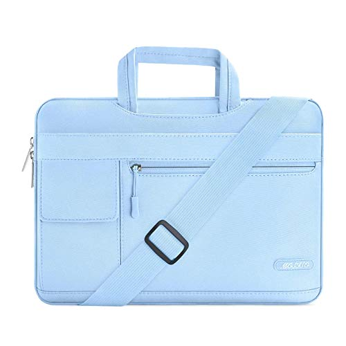 MOSISO Laptop Shoulder Bag Compatible with 2019 MacBook Pro 16 inch A2141, 15 15.4 15.6 inch Dell Lenovo HP Asus Acer Samsung Sony Chromebook, Polyester Flapover Briefcase Sleeve Case, Airy Blue