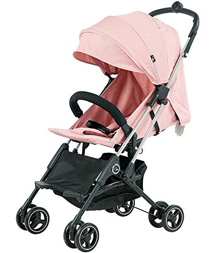 Roma Capsule² Compact Airplane Travel Buggy from Newborn + Rain Cover, Insect Net and Travel Bag, Only 5.6 kgs - Pink with a Chrome Chassis