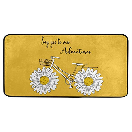susiyo Kitchen Mat Summer Sunflower Daisy Bicycle Kitchen Rug Mat Anti-Fatigue Comfort Floor Mat Non Slip Oil Stain Resistant Easy to Clean Kitchen Rug Bath Rug Carpet for Indoor Outdoor Doormat