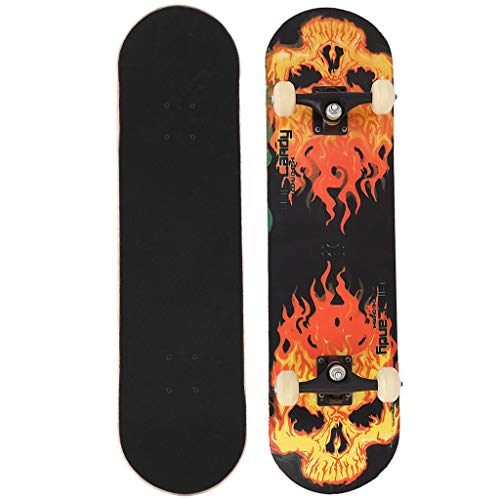 Micozy Fire Skull Skateboards for Beginners, Complete Skateboard 31 x 7.75 inch, 7 Layer Canadian Maple Double Kick Concave Standard and Tricks Skateboards for Kids and Beginners