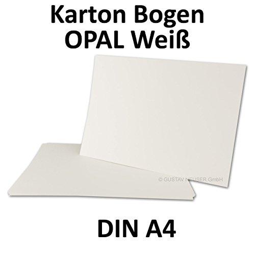 20x Karten/Plano Bogen DIN A4 - Opal-Weiß - 210 x 297 mm - 260 g/m² - Marke: NEUSER O:P:A:L