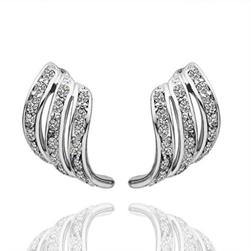 Anazoz Élégant Boucle d'Oreille Femme 18K Plaqué Or Blanc Aile Ange Design Design Incrusté Zircon Cubique Cristal Cadeau Amour Anniversaire