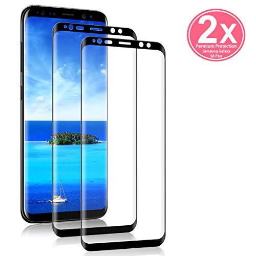 HCHYU S8 Plus Panzerglas [2 stück ], S8 Plus Schutzfolie [Einfache Installation] [9H Härte] [3D Abgerundete] [Anti-Kratzer] für Samsung Galaxy S8 Plus