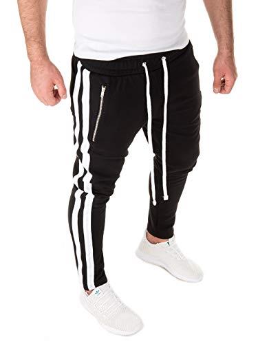 Yazubi Pista Retro Hombre Pantalón De Deporte Joggers Rayne Chándal Hombres Cremallera Deportivos, Negro (Black/White 1601), S