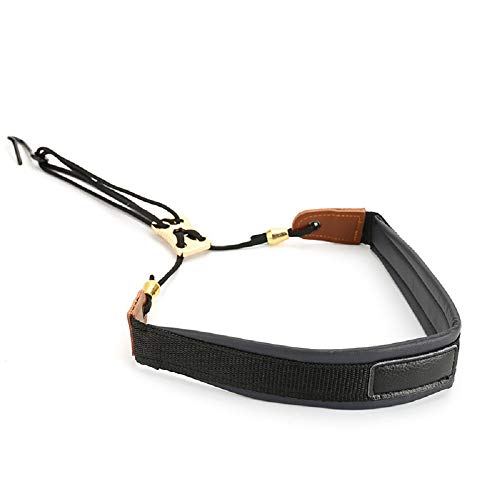 Premium Saxophone Neck Strap (Handmade with Leather,Breathable Pad & Metal Hook) - Less Stress Ergonomics Design Sax Strap