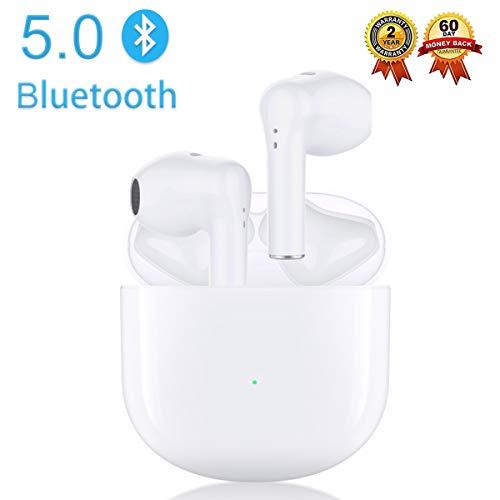 Auriculares Bluetooth 5.0 Auricular Inalámbrico In-Ear Auriculares Micrófono de Reducción de Ruido Incorporado y Caja de Carga Rápida 3D Estére IPX5 Impermeables,para iPhone/Android/Apple