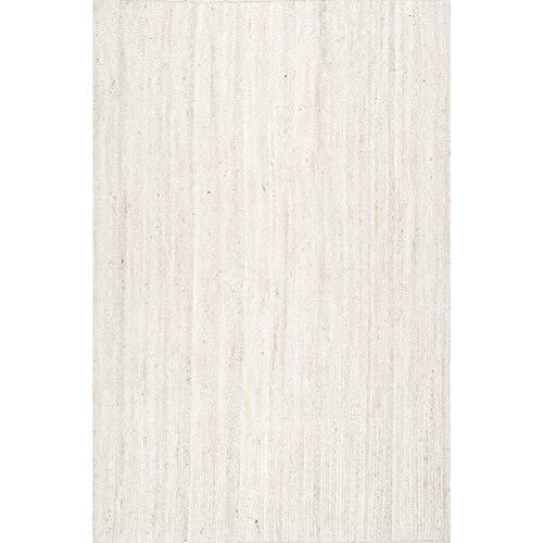 nuLOOM Rigo Hand Woven Farmhouse Jute Area Rug, 8' x 10', Off-white