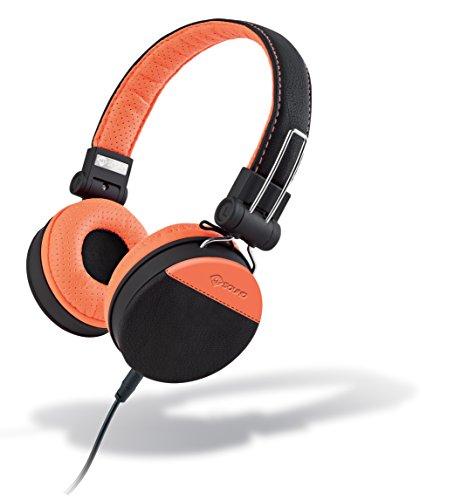 MySound Speak Style Cuffie Stereo Extra Bass con Microfono e Tasto di Risposta, Rivestimento in finta pelle, Arancio Nero