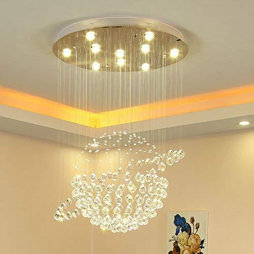 Lámpara de techo LED para escaleras, salón, 3 niveles de brillo K9, cristal y cromo, de acero inoxidable, con espejo y mando a distancia, 50 cm de diámetro x 90 cm de altura