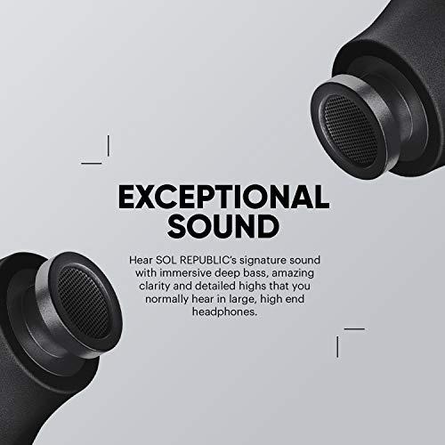 Sol republic Bluetooth amps Air 2.0 Auriculares, Negro 3 Horas de reproducción/Estuche de Carga Carga hasta 15 Veces, Resistente a la Lluvia y al Sudor Compacto y portátil.