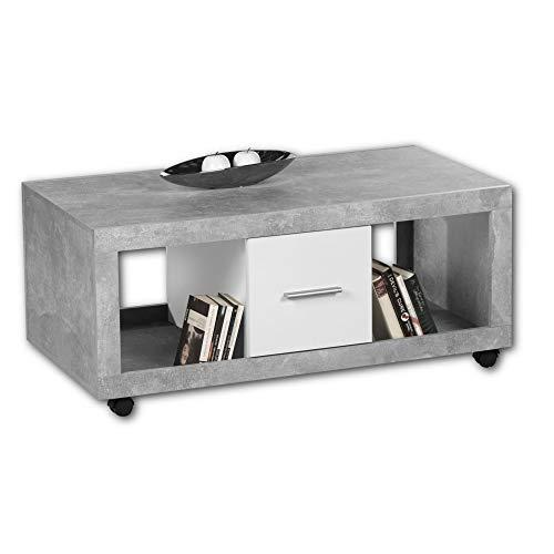 STONE Moderner Couchtisch auf Rollen in Beton Optik, Weiß - mobiler Sofatisch mit Ablagefächern & Schubladen für Ihren Wohnbereich - 115 x 50 x 60 cm (B/H/T)
