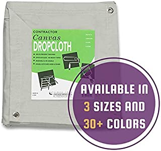 8' x 10' - 10 oz Cotton Canvas Drop Cloth with Grommets (8' x 10', White)