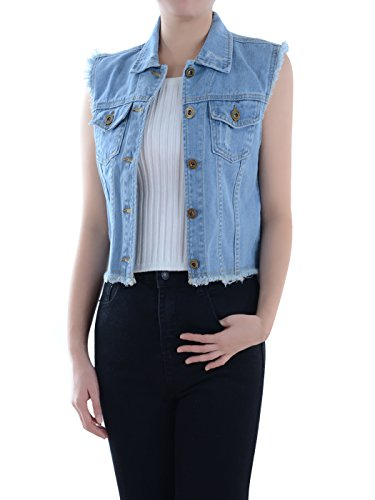 Anna-Kaci Dames Blauw Denim Distressed Exfranst Button Up mouwloos jeans vest