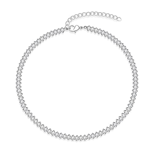Tennis Necklace Fake Diamond Choker Necklace Geometry Cubic Zirconia in Silver Sparking Crystal Chain Necklaces for Women 17 Inch
