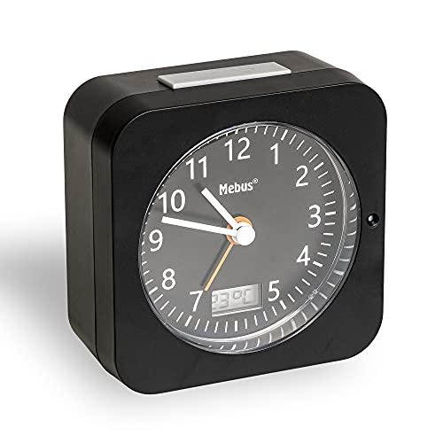 Mebus Funk-Wecker mit Thermometer/Datumsanzeige, Schlummerfunktion, großes Display/Quadratisch/Hintergrundbeleuchtung/Farbe: Schwarz/Modell: 25609, Kunststoff, normal