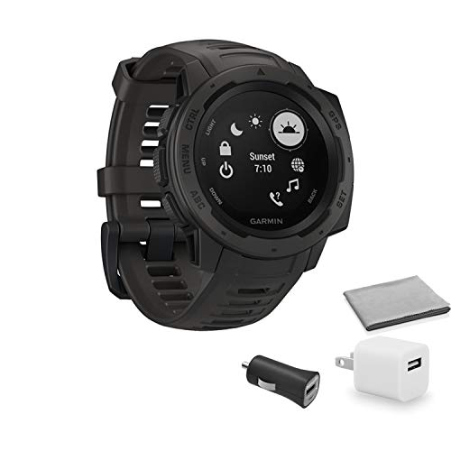 Garmin Instinct Outdoor GPS Watch (Graphite) with Universal USB Cube Adapter