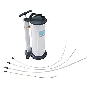 KATSU Tools 481509 9L Bomba manual de succión de líquido y aceite para motor de aspiración manual para automóviles, blanco