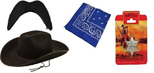 Adult Cowboy Sheriff 4 stuk fancy jurk wild west rodeo accessoire kit - Stetson hoed, zwarte snor, blauwe bandana en sheriff badge
