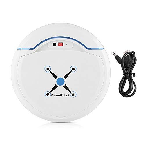 Zerodis Robot Aspirador, Limpiadores robóticos Limpiador USB Recargable Mini automático Smart Clean Robot Limpiador de Suelos Herramienta de Limpieza por aspiración(Blanco)