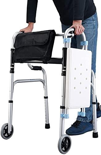 Caminante plegable de rollador ligero con asiento, ancianos / discapacitados para caminar por portátil para interiores / al aire libre, silla de ducha de baño