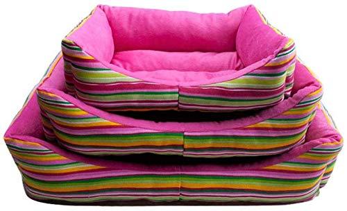 YLCJ gestreepte hondenbank voor dieren nest stijl orthopedische chaise longue hoekbank stijl bank met katoen ademend voor katten (kleur: roze, maat: S), S, roze