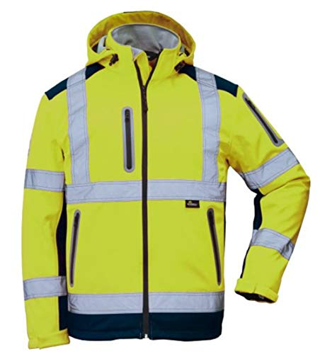Vizwell Herren Winter Warnschutz-Jacke Softshell VW177P, Zertifiziert nach ISO-EN471, wasserabweisend, Winddicht, fluoreszierend-Gelb, Größe 5XL