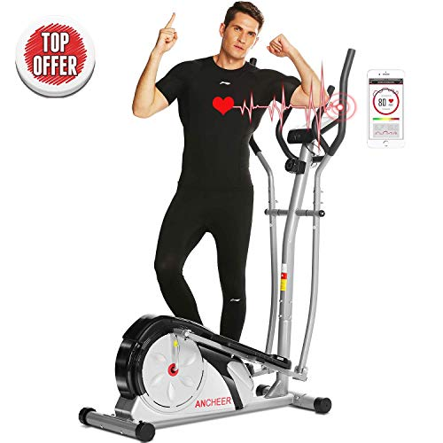 ANCHEER Elliptical Machine Trainer Magnetic Smooth Quiet Driven with LCD Monitor and Pulse Rate Grips (Silver)