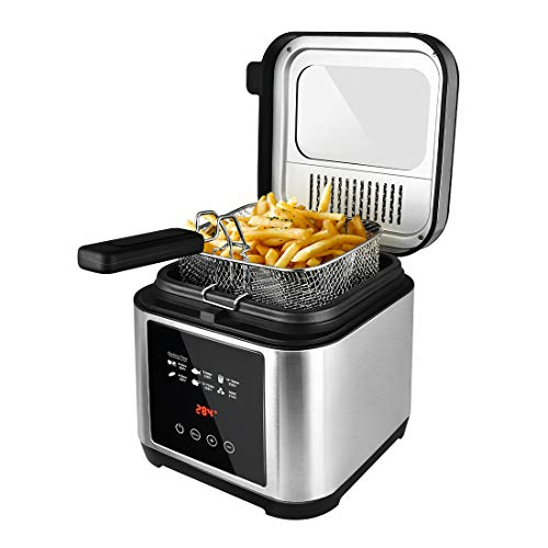 Deep fryer, Electric Fryer with Basket, Oil Thermostat, 2.5L Oil Capacity Deep Fat Fryers with Timer, Removable Lid with View Window, Cool Touch Handle, Safe Stainless Steel Fish Fryer with Drain Hook