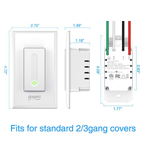 Gosund Smart Dimmer Switch, Smart WiFi Light Switch Works with Alexa Google Home, with Remote Control Timer Countdown, Single-Pole, Neutral Wire Required, ETL and FCC Listed, No Hub Required (1 Pack)