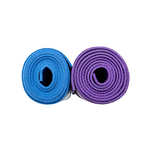 Blue and purple yoga mat side view