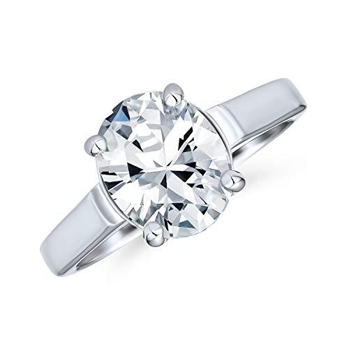 Personalizar simple 3CT clásico AAA CZ corte brillante corte oval solitario cúbico zirconia anillo de compromiso .925 plata de ley para las mujeres promete anillo