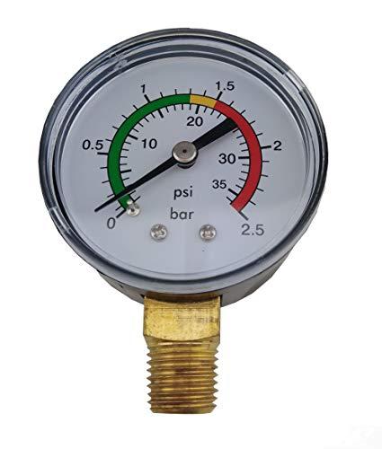 EDENEA Manomètre Spécial Filtre Piscine - 0 à 2.5 Bars avec Plages Couleur - Capteur Pression Filtre Vanne Piscine Bassin Pompe